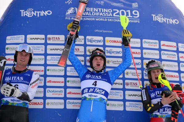 FIS ALPINE JUNIOR  WORLD SKI CHAMPIONSHIPS  VAL DI FASSA 2019 25 febbraio 2019 MEN'S SPECIAL SLALOM 1°VINTAGER ALEX ITA 2°RICHIE BENJAMIN USA 3°NAES SAM BEL POZZA DI FASSA VAL DI FASSA ITALY 26 FEBBRAIO 2019