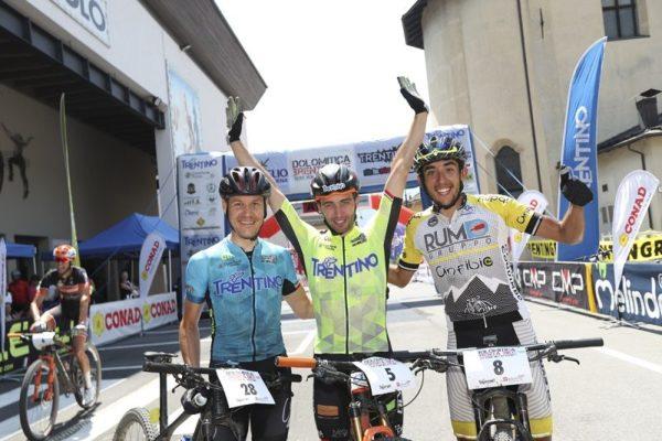 Trentino MTB Challenge - Ride the Nature - 1000 Grobbe Bike Challenge - 100 Km dei Forti  il 30/06/2019 a Pinzolo, Italia. Andrea Zamboni, Andrea Righettini (GS Cicli Olympia), Felipe Garry Rojas © M Trabalza / MOSNA