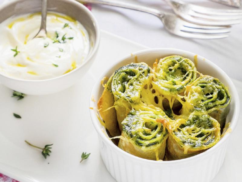 Crespelle ricotta e spinaci - Birra Adige DAO bionda